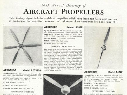 1947 Annual Directory of Aircraft Propellers
